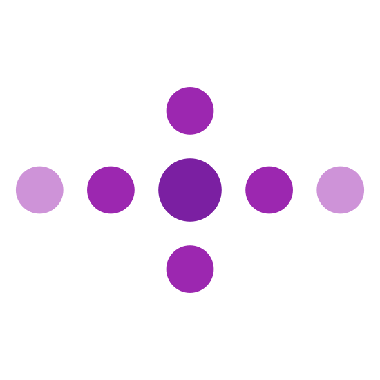 Nieznany status icon. It's a logo of a circle in the middle and then on the right and left two smaller circles on each side in a straight line and on top and bottom one smaller circle in a straight line to form sort of an equal sideways cross look to it.