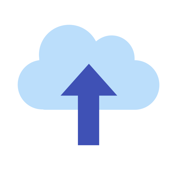 Subir a la nube icon. The icon for upload to cloud is a cloud with an arrow pointing up. Since you are loading the images on a cloud service the arrow pointing up represents the images going into the cloud system that keeps the pictures out of your device but still easily accessible.