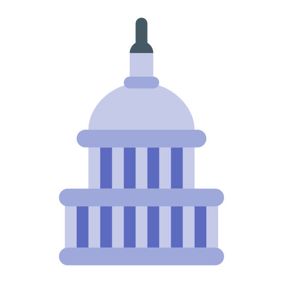 US Capitol icon. This icon is made up of a lot of lines. On the bottom, there is a horizontal line with 7 vertical lines on top. Then there is another horizontal line on top of those, with more vertical lines on top of that. Then there is a half circle with a small square on top.