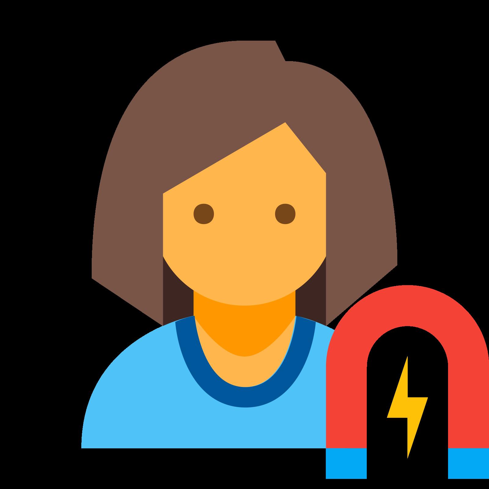 ユーザー婚約女性 icon. The User Engagement Female icon is of the outline of a woman's head, neck and shoulders. The hair is cut to the middle of her neck and a horseshoe with a lightning bolt inside is on the right.