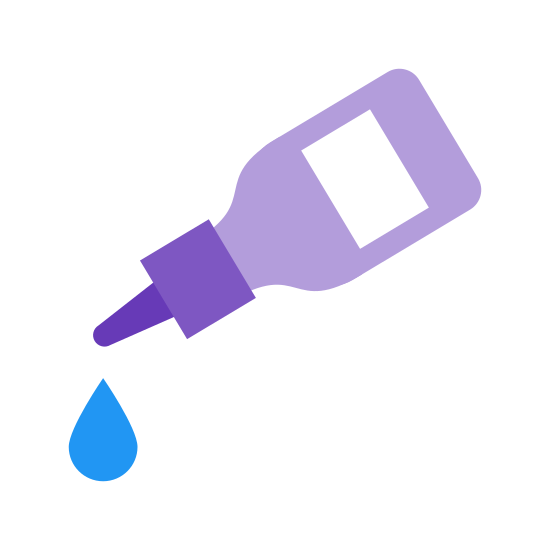 Dose icon. A small bottle with a squarish shape is tilted downward at an angle. The bottle has a liquid dropping cap. A tear shaped drop falls from the cap.