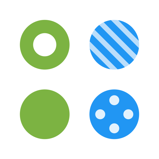 Variation icon. The icon image is showing four circles. The first circle is blank with a dark outline. The second circle has three lines going diagonal through it. The third circle has twelve dots inside of it. And the fourth circle has five smaller circles inside. The image is showing the description of variation.