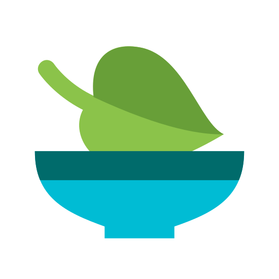Vegan Food icon. The icon is a common bowl shape. Inside of the bowl shape towards the top part is a vertical heart shape with a curved line that starts from the top and goes through the center of the heart shape almost reaching the bottom.