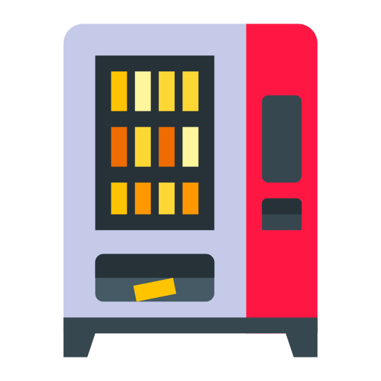 Vending Machine icon. This is a picture of a vending machine that has three rows of products. in the bottom tray, there is a product that has just dropped out of the machine. it also has four lines on the side showing writing and a place to put in money.