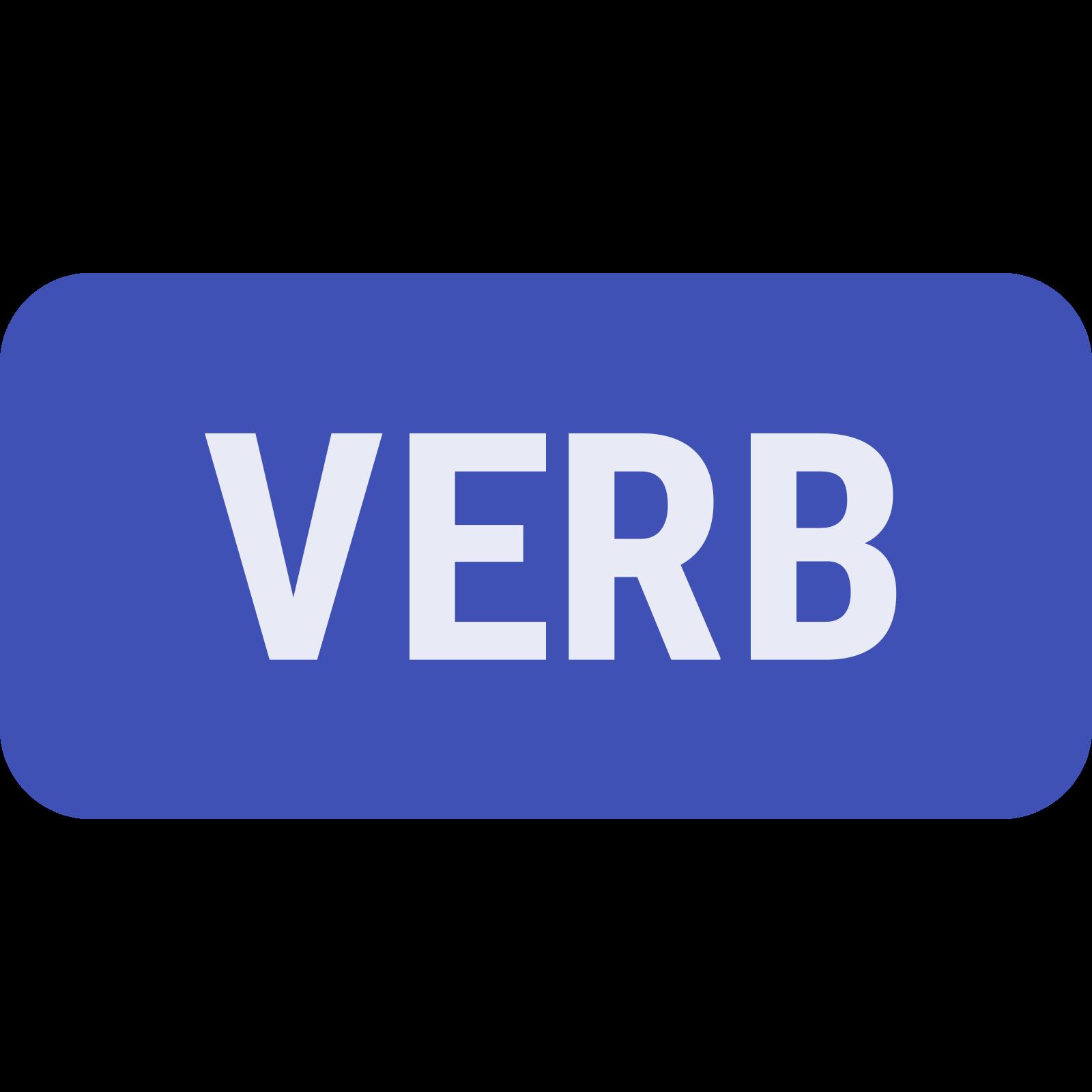 动词 icon. It's a rectangle that is longer than it is wide. Inside the rectangle is the word verb, written in a capital letters. There is nothing else in or around the rectangle.