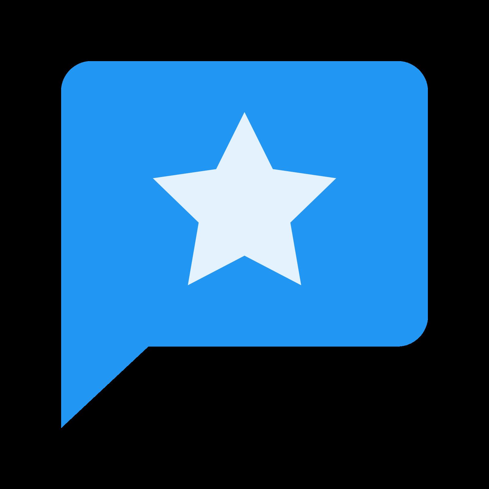 很热门的话题 icon. This icon is a speech bubble in the shape of a circle with a star in the center of the bubble. The speech bubble is circular with a curved point at its bottom coming from the bottom left. Inside the bubble is a filled-in star with five points.