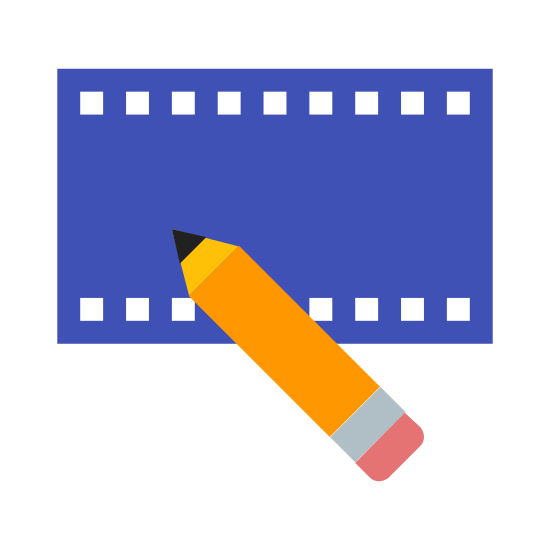 Video Editing icon. This icon for video editing depicts a flat section of a roll of film. The film is rectangular in shape, with tiny rectangles running along the entire top and bottom. There is also a pencil situated at the bottom of the roll of film, which is partially on the film.