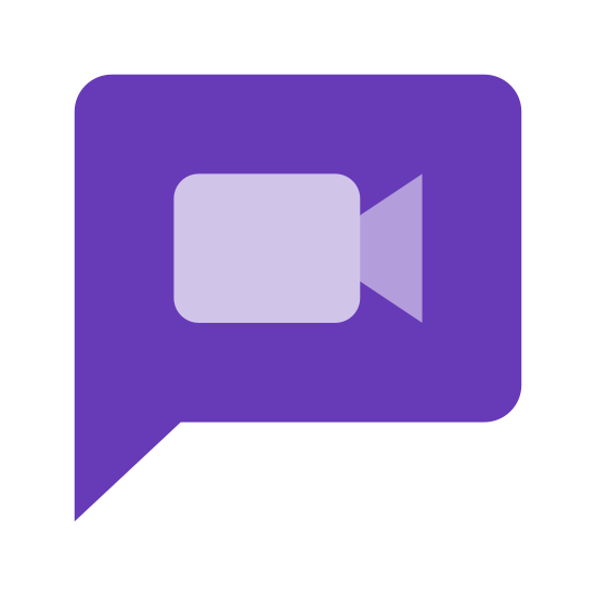 Message vidéo icon. This icon shows a typical comic speech bubble which indicates that someone is speaking - it's a large circle that has a little tail pointing to someone speaking. Inside the speech bubble is the icon for a video which is a rectangle with a small triangle on the front of it to illustrate a videocamera.
