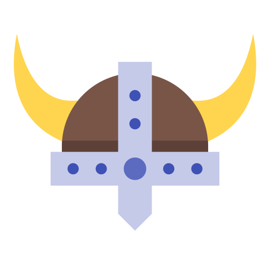 Casco de vikingo icon. The icon is of an antique warrior's helmet, which is black and white. The helmet has two bull-like horns, one on either side. The rim of the helmet is decorated with solid black circles.