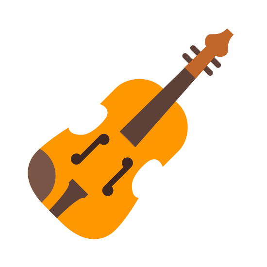 Skrzypce icon. The violin has strings that allow for playing all down its center with a handle at the top so you can play with you sit. The body is a little hard to describe as its basically an oval but the two sides have a little cut out from it.