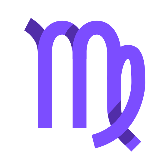 Virgo icon. A Virgo symbol is mainly a M, which is to represent the word maiden. Next to the M there is a loop, and the loop is closed because the maiden is supposed to be closed and shouldn't have access to impurities.