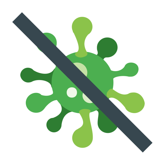 Anti-Virus icon. There is a small splotchy object that resembles a virus or some sort of infectious agent. There is one diagonal line going through the middle of the virus, implying it's crossed out or killed.