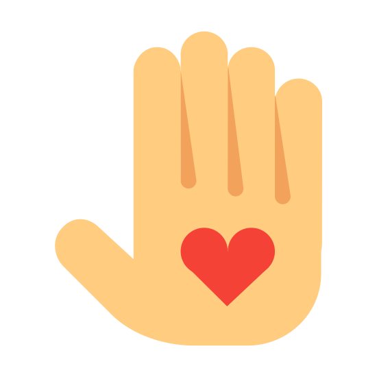 Voluntariado icon. This is a picture of a right hand with it's fingers all sticking straight up. in the palm of the hand is a heart. the thumb is kind of sticking out to the side.