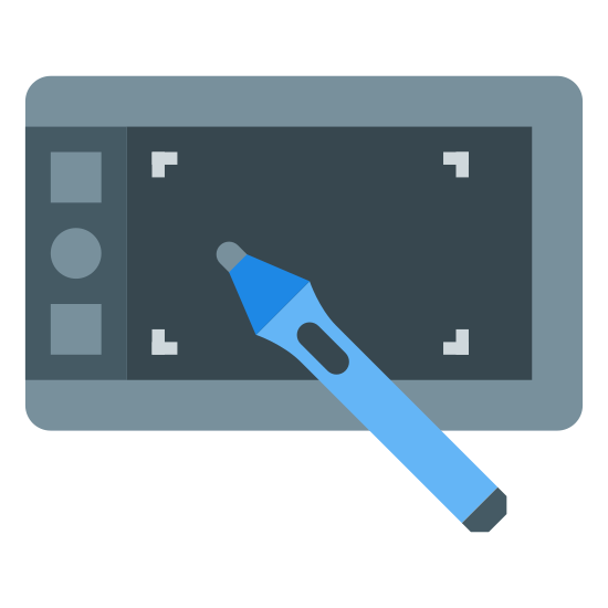 Tablet Wacom icon. This is a rectangle with another smaller rectangle inside of it. On the inner left of the inner rectangle is a circle with a dot in the middle, with small rectangle on the top and bottom of that.