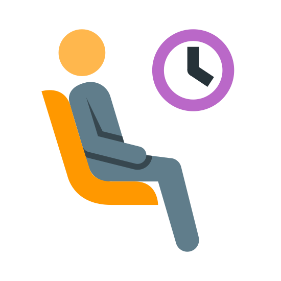 Waiting Room icon. This icon features a man sitting in a chair under a clock. The purpose of the icon is to convey to the onlooker that this is the area for waiting.