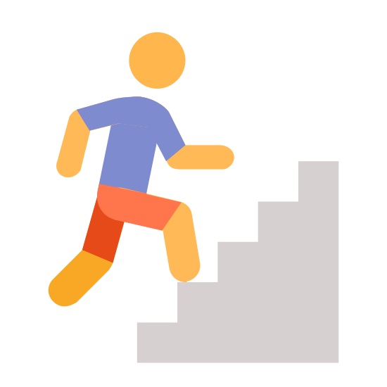 "Staircase icon. The icon for ""wakeup hill on stairs"" shows the outline of a man walking up stars. The stairs are shown as zig-zag lines, running from the bottom left of the image upwards to the top right. The man appears to be in motion."
