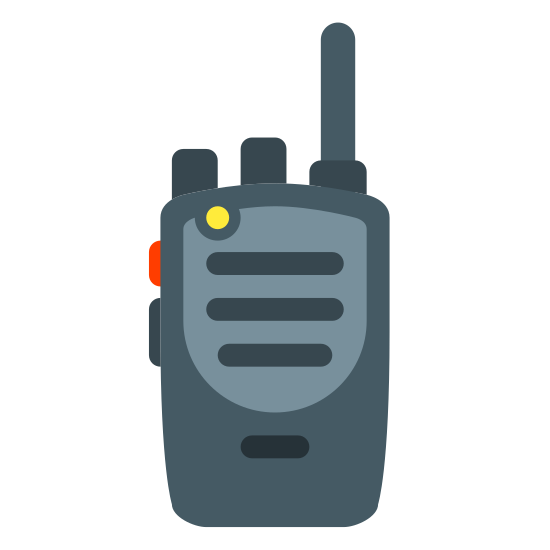 Walkie Talkie icon. It is an icon to represent a walkie talkie. It is the shape of a phone with three straight horizontal lines inside. There is one vertical line on the top left side coming out and a small circle on the top right side.