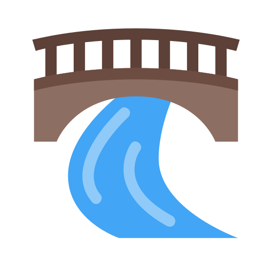 Walking Bridge icon. A standard walking bridge stretching over what could be a pathway in a park, or a road. The bridge and path underneath are both empty, and no one is leaning on the handrail at all.