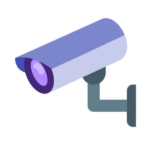 Wall Mount Camera icon. The icon is a picture of a camera mounted on a wall. The camera is facing left. The camera has a cone shaped lens and a rectangular body.