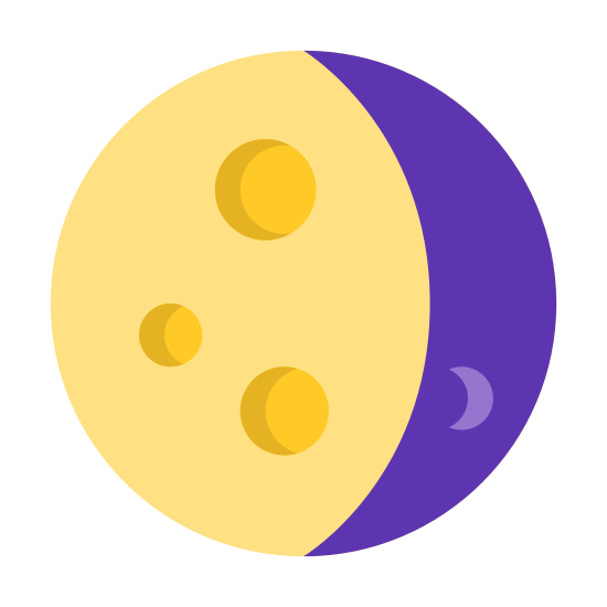 Waning Gibbous icon. The icon is shaped like a full circle. However there is a shaded crescent shape part to the right that makes up a quarter of the circle. The crescent shaped part is covered with dots.