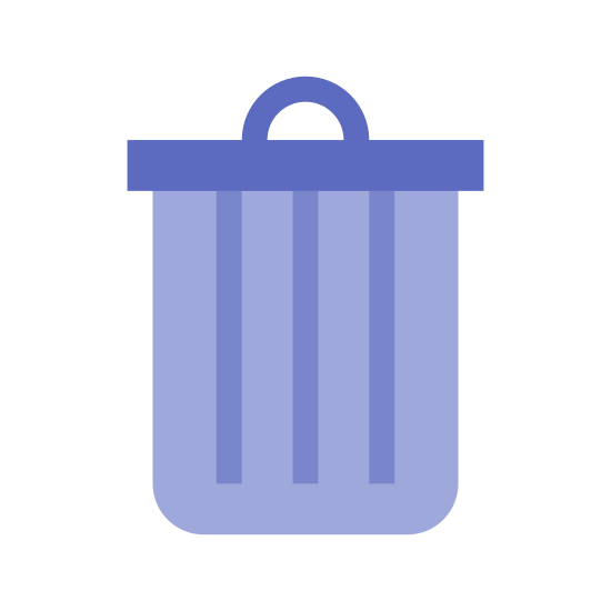 "Waste icon. It looks like a garbage can with a lid. It has the shape of a cup, where it is wider at the top and more narrow towards the bottom. The ""garbage can"" has 4 rays in the middle. The lid has a handle."