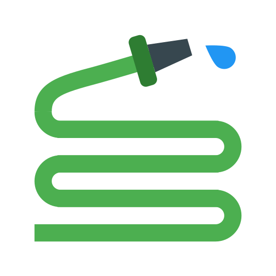 "Wąż do wody icon. It is a snakelike, zig-zagging length of hose, which is used to dispense water. It makes the shape of an ""S"" with an extra zag at the bottom. At the top is attached a triangular nozzle with a drop of water squirting out of it."