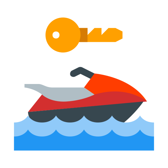Noleggio Sport acquatico icon. Its a logo of a jetski riding in water. Above the jetski riding in the water is an icon that almost looks like the head of a bird. By this I mean a head with an eye, and a beak.