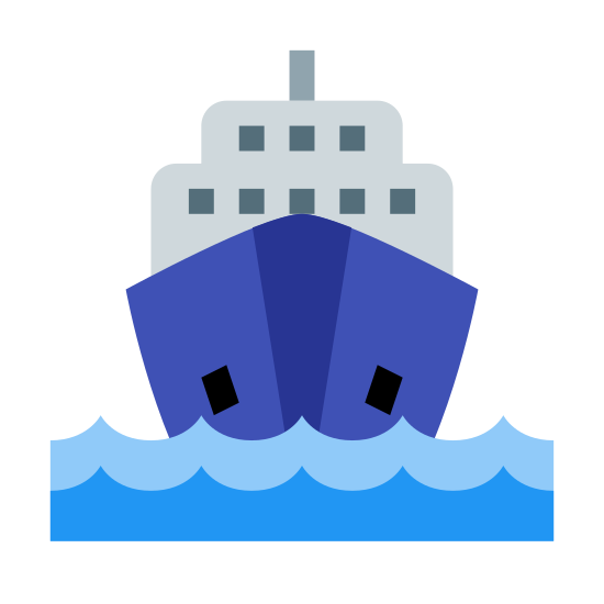 Trasporto via mare icon. There are two curved and pointed parallel lines at the bottom of the image that resemble waves in water. There is a hexagon shape just above the parallel lines with two ovals near the top of the shape. On top of that shape is a rectangle with the top two corners cut out and a short line extending vertically.