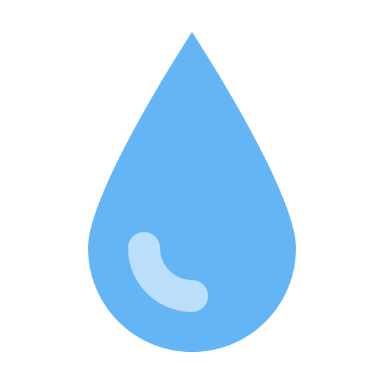 "Water icon. This icon representing ""Water"" is circular with a ninety degree angle formed on top, creating a teardrop or raindrop shape. Inside the shape is a curved line, indicating the round shape of a water droplet."