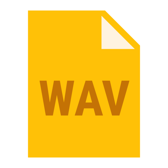 WAV icon. This is the icon for a .wav file.  The icon is meant to resemble a page of paper with the top right hand corner partially folded down. Inside the rectangular shape of the page are the letters WAV written together in all caps.