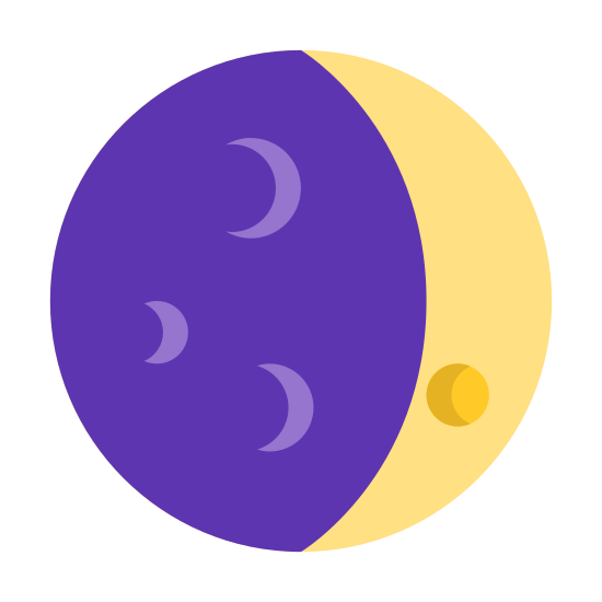 Waxing Crescent icon. The icon is round circle with a crescent on the left side and dots covering the remainder of the inside of circle to the left.  The dots are small and evenly spaced out to cover the inner of the circle.