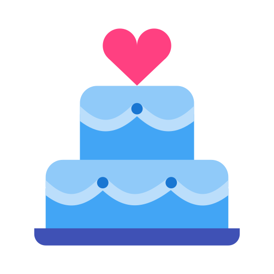 Tort weselny icon. This is a picture of a cake with a giant heart on top. The cake has two layers and the top layer is smaller than the bottom. You can see icing dripping down from the cake layers.