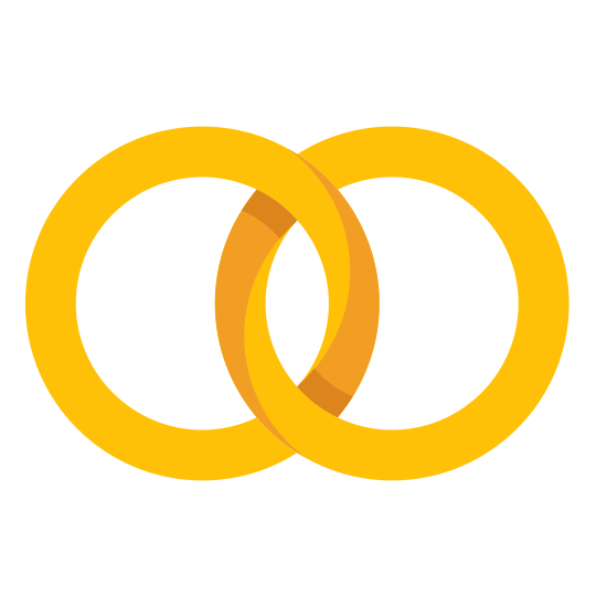 Wedding Rings icon. The icon of wedding rings consists of two circles linked together. The circles are like ring shaped, and they are shown as being connected because when people get married they are connected together.
