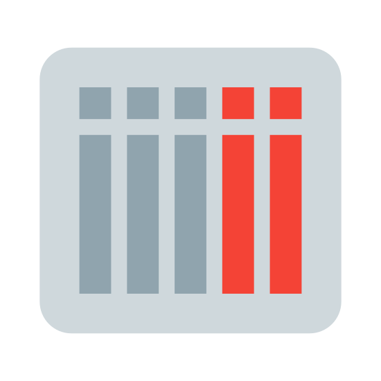 Week View icon. There is a rectangle, split horizontally towards the top once and split vertically with five lines. This separates the rectangle into six small squares at the at the top, with six longer vertical rectangles underneath, much like a calendar.