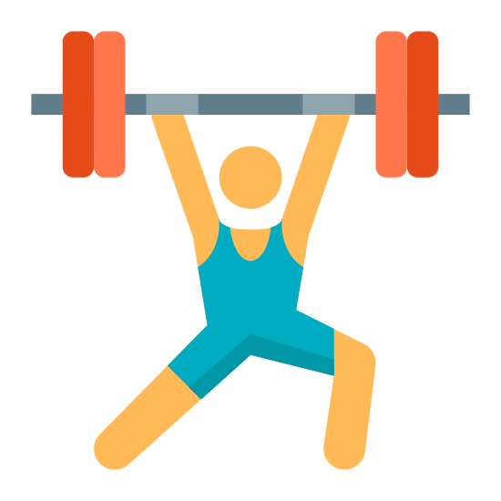 Musculation icon. There is a human figure standing with its arms extended over its head and its legs askew. One knee is bent and it is extending a large weight over its head.