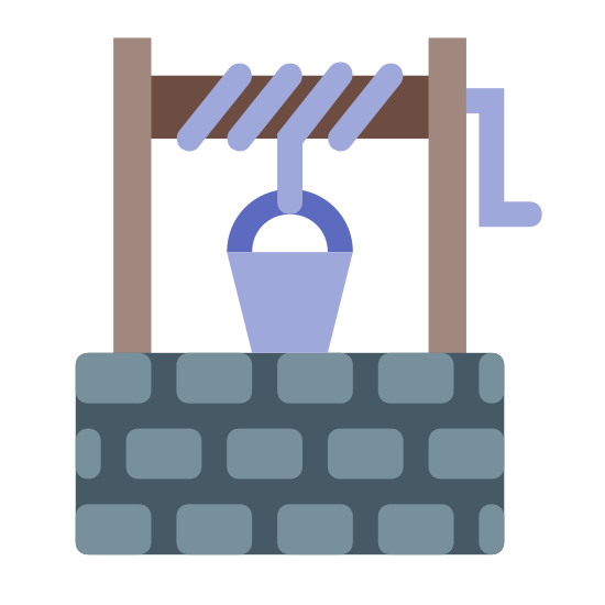 Studnia icon. The icon is a picture of the logo for Well. The icon has two lengthy upright rectangular structures holding a horizontal spool up. The spool has rope attached to it to hold the bucket up above the well.