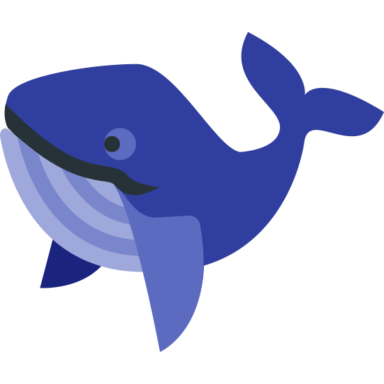 Whale icon. This is a picture of a whale, almost like a humpback. it's body is curved with it's tail sticking up behind it. it has a smile on it's face and it's fins are pointed downwards