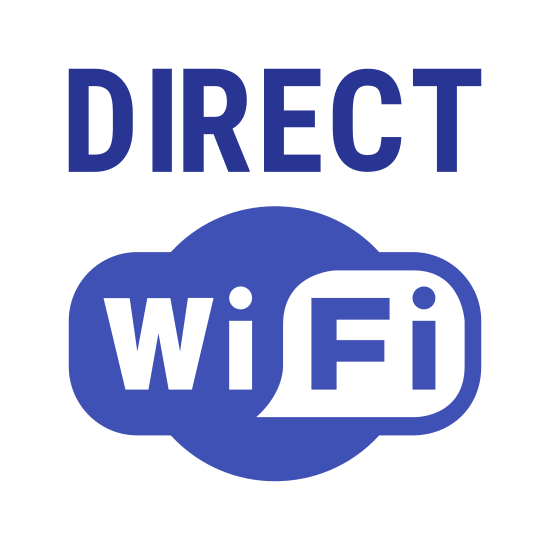 """Wi-Fi Direct icon. This logo features the words """"DIRECT"""" in all capital letters directly above a logo that says """"WiFi"""". The """"WiFi"""" part is in a cloud shaped design, with the """"Fi"""" part inside of a square-shaped speech bubble."""