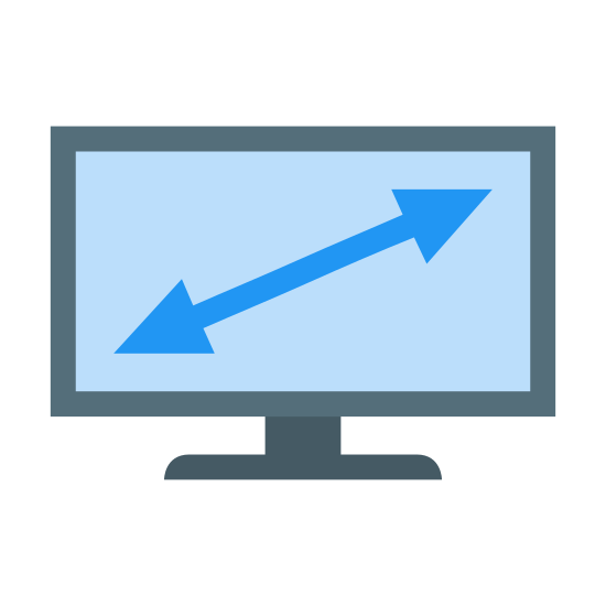 Pantalla de TV plana icon. It's a drawing of a computer monitor or T.V. with a double ended arrow drawn inside of the screen. The arrow is pointing to the top right of the screen and to the bottom left of the screen as if to indicated the diagonal size of the screen.