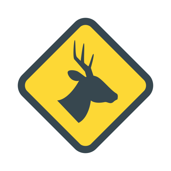Wild Animals Sign icon. This is a picture of diamond shaped sign with a deer's head in the center. you can see the deer's profile, but it doesn't have eyes. it has an antler with three smaller ones coming out of it.