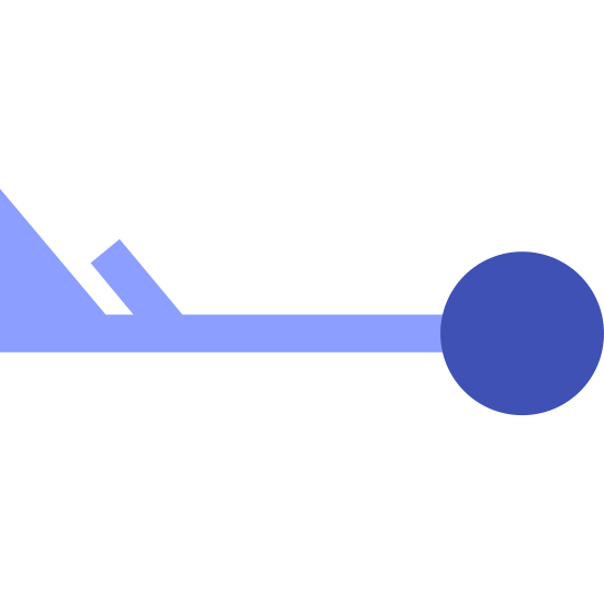 Wind Speed 53-57 icon. There is a circle on the right side. it is connected with a line with a triangle on the far end of the left side. there is also a line next to the triangle.