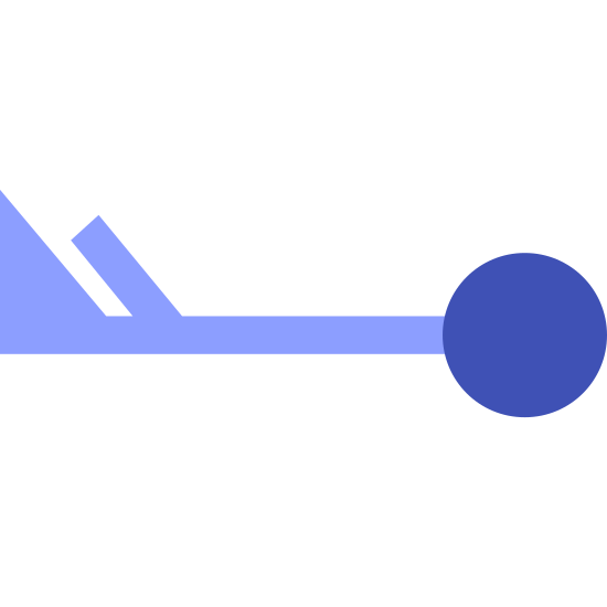Wind Speed 58-62 icon. It's a logo that represents wind speed 58-62.  It is a simple picture of a circle with a straight line coming from the middle of the left hand side.  At the end of the line is a solid colored trapezoid.  Next to the trapezoid closer to the circle is another line that is slanted to the left.