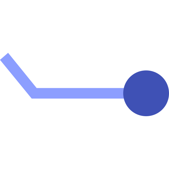 Wind Speed 8-12 icon. This is a picture of a line that has a circle attached to it's right side. on the left side of the line is a smaller line that is sticking up to the top left hand corner direction