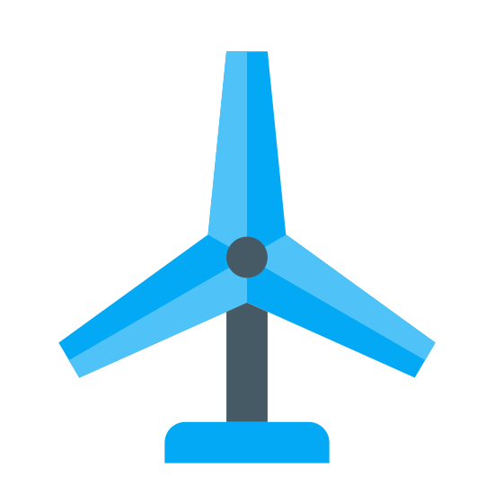 Turbina wiatrowa icon. It is a windmill-like object that has three equal blades spaced evenly around 2 concentric circles. The blades themselves are somewhat stubby (wide and a bit short). The blades appear to be on a tall triangular base, but only the top portion of the base is visible.