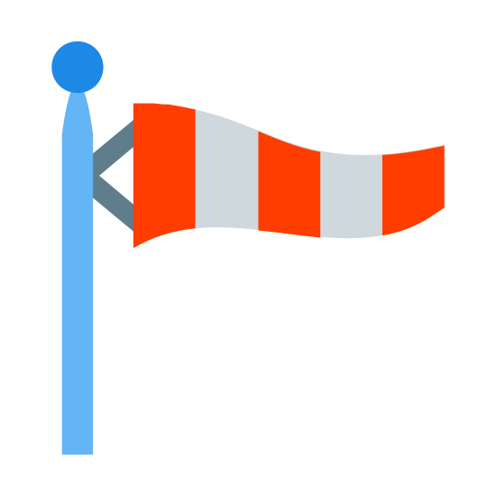 Windsock icon. This looks like a vertical line with a small circle at the top of it. There is a wavy rectangle to the right of the small circle. The rectangle is split into 5 sections. 3 of the 5 sections are dotted.