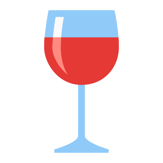 Wine Glass icon. It's a logo for a wine glass with a half circle that is facing up with a triangular stem at the base. There is a line going through the half circle to show that it has wine in it.