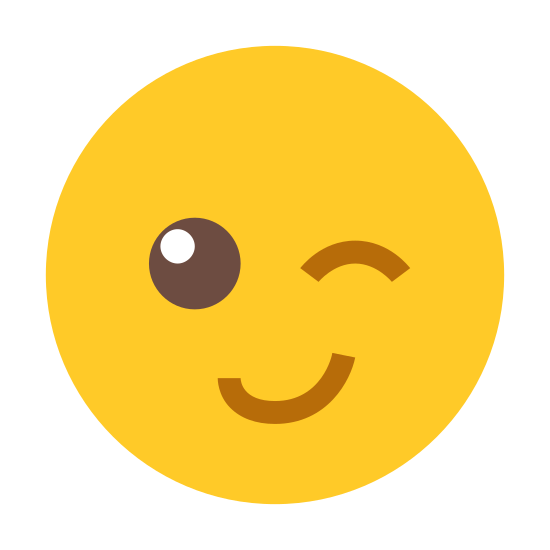 Wink icon. The icon shows an emoticon type face that is winking winking and has a big smile. One eye is closed and the other is opened with the face scrunched up to one side winking.