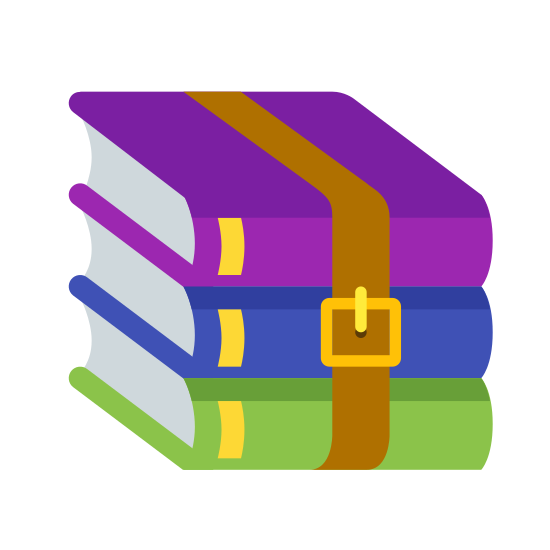 WinRAR icon. This icon depicts the term WinRAR. It is a set of three books stacked directly ontop of one-another. The books are held together with a belt. The buckle of the bely can be seen on the front of the stack of books.