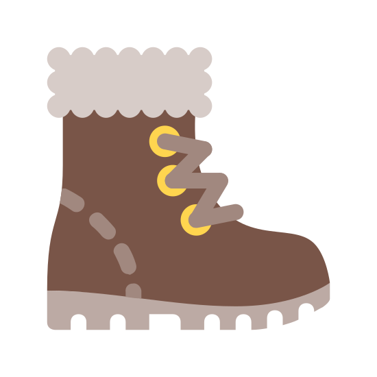 Winter Boots icon. It is a right-facing boot with thick tread on the bottom, indicating that it is rugged. There are 5 dots indicating lace-up holes. The top of the boot has a decent-sized cuff, likely for warmth.