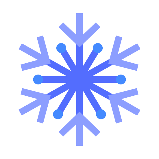 Winter icon. This icon represents winter. It is in the form of a circle with 6 straight lines that extend from a circle center. Each spoke has tiny extensions on the end to create a starburst effect. It looks like a snowflake design.